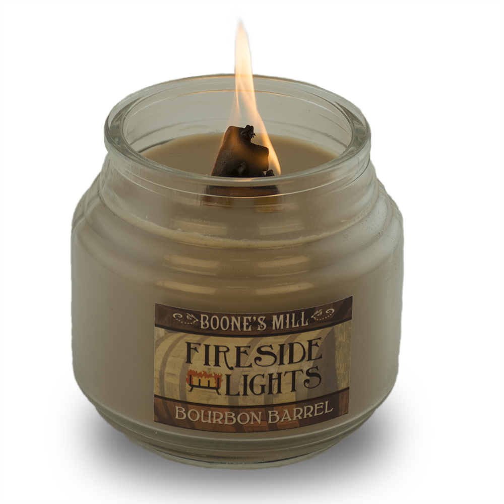 bourbon barrel scented candle lit burning