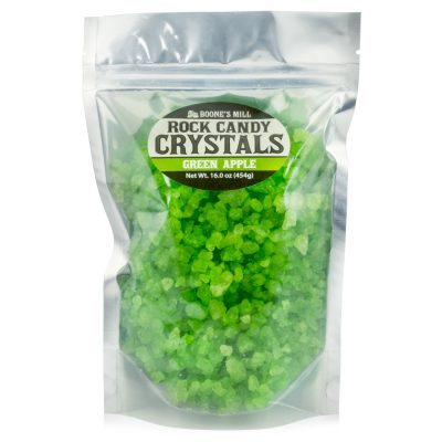 Light Green/Green Apple Rock Candy Crystals in 1 pound bag