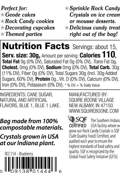 Blueberry Light Blue Rock Candy Crystals Nutrition Information